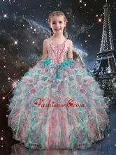 2016 Pretty Straps Little Girl Pageant Dresses with Beading and Ruffles LGDTA91002FOR