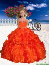 2016 Spring Perfect Appliques Little Girl Pageant Dress in Orange Red with Beaded Decorate LGZY061-AFOR