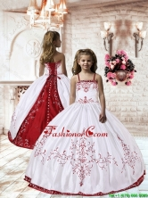 2016 Spring Perfect Spaghetti Straps White Satin Little Girl Pageant Dress with Embroidery LGZY535FOR