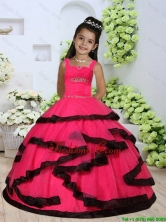 2016 Summer Beautiful Straps Beading Little Girl Dress with Layers and Ruching LGZY391FOR