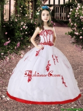 2016 Summer Cheap White and Red Little Girl Pageant Dress with Appliques LGZY569FOR