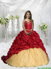 2016 Summer Popular Spaghetti Straps Pick Ups Little Girl Pageant Dress with Sweep Train LGZY775-AFOR