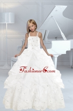 Appliques and Ruffles White delicate Little Girl Pageant Dress with Spaghetti Straps XFLG5919FOR