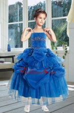 Ball Gown 2015 Royal Blue Little Girl Pageant Dress with Ruffles and Hand Made Flowers XFLG884FOR