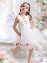 Beading Ruffled 2015 White Little Girl Pageant Dress with Bowknot WMDLG035FOR