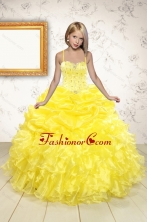 Beand New Beading and Ruffles Flower Girl Dress in Yellow for 2015 XFLGA03FOR