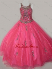 Beautiful Ball Gown Scoop Floor-length Beaded Lace Up Little Girl Pageant Dress in Organza  SWLG011-1FOR