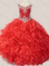 Beautiful Beaded and Ruffled Organza Little Girl Pageant Dress in Red SWLG007-1FOR