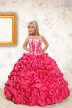 Beautiful Coral Red Little Girl Dress with  Appliques and Pick Ups XFLGA58FOR