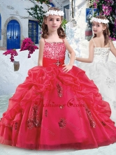 Beautiful Spaghetti Straps Little Girl Pageant Dresses with Appliques and Bubles PAG287FOR