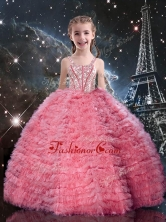 Beautiful Straps Little Girl Pageant Dresses with Beading and Ruffles LGDTA92002FOR
