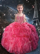 Beautiful Straps Little Girl Pageant Dresses with Beading for Fall LGDTA108002FOR
