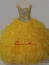 Beautiful Sweetheart Little Girl Pageant Dress with Spaghetti Straps in Yellow SWLG016FOR