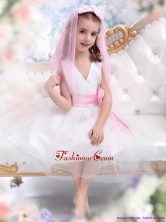 Beautiful White Little Girl Pageant Dress with Baby Pink Waistband and Hand Made Flower WMDLG034FOR