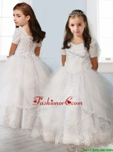 Best Square Short Sleeves White Little Girl Pageant Dress with Beading and Appliques THLG059FOR