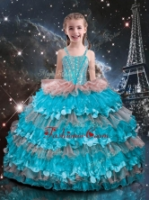 Best Straps Ruffled Layers Little Girl Pageant Dresses for 2016 LGDTA112002FOR