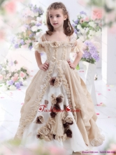 Champagne Spaghetti Straps Little Girl Pageant Dress with Hand Made Flowers and Ruffles WMDLG005FOR