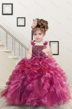 Custom Made Burgundy Little Girl Dress with Beading and Ruffles for 2015 XFLG8068-0FOR