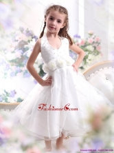 Cute Halter Top White Mini Length Little Girl Pageant Dress with Hand Made Flower WMDLG001FOR