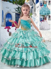 Elegant Spaghetti Straps Little Girl Pageant Dresses with Ruffled Layers and Beading PAG291FOR