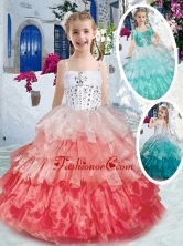 Elegant Spaghetti Straps Little Girl Pageant Dresses with Ruffled Layers and Beading PAG262FOR