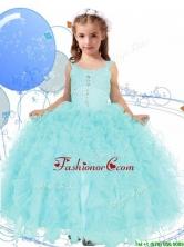 Elegant Straps Beading and Ruffles Little Girl Pageant Dress in Apple Green THLG054FOR