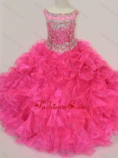 Exclusive Scoop Hot Pink Little Girl Pageant Dress with Beading and Ruffles SWLG004FOR