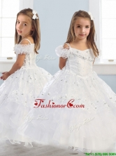 Exquisite Spaghetti Straps Cap Sleeves Little Girl Pageant Dress with Lace and Ruffled Layers THLG045FOR