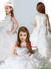 Fashionable Asymmetrical Neckline Little Girl Pageant Dress with Beading and Ruffles THLG001FOR