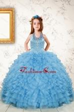 Fashionable Beading and Ruffles Little Girl Dress in Aqua Blue XFLGDVC1037FOR