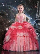 Fashionable Floor Length Beading and Ruffles Little Girl Pageant Dress for Winter LGDTA101002FOR