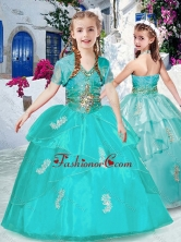Fashionable Halter Top Turquoise Little Girl Pageant Dresses with Appliques PAG252FOR