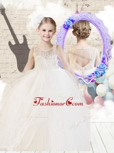 Fashionable Scoop Ball Gown White Flower Girl Dresses with Lace   FGL262FOR