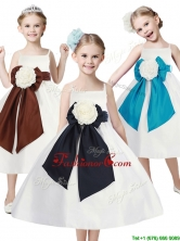 Fashionable Spaghetti Straps Little Girl Pageant Dress with Hand Made Flowers and Sashes THLG039FOR