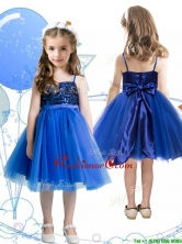 Fashionable Spaghetti Straps Royal Blue Little Girl Pageant Dress with Sashes and Sequins THLG083FOR