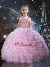 Fashionable Straps Little Girl Pageant Dress with Beading in Pink LGDTA113002FOR