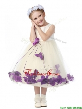 Gorgeous Scoop Little Girl Pageant Dresses with Purple Hand Made Flowers and Appliques THLG095-4FOR