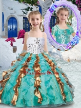 Gorgeous Spaghetti Straps Little Girl Pageant Dresses with Beading and Ruffles PAG238FOR