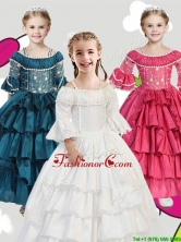 Gorgeous Spaghetti Straps Three Fourth Length Sleeves Little Girl Pageant Dress with Lace and Ruffled Layers THLG040FOR
