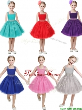 Gorgeous Straps Beading and Bowknot Little Girl Pageant Dress in Mini Length THLG033-1FOR