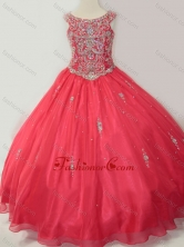 Hot Sale Puffy Scoop Little Girl Pageant Dress with Beading in Coral Red SWLG017-1FOR