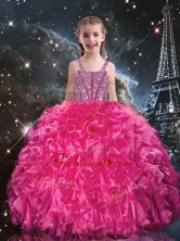 Hot Sale Straps Little Girl Pageant Dresses with Beading and Ruffles LGDTA100002FOR
