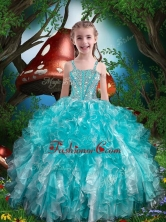Hot Sale Straps Little Girl Pageant Dresses with Beading and Ruffles for Summer LGDTA79002FOR