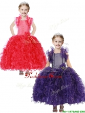 Inexpensive Straps Little Girl Pageant Dress with Hand Made Flowers and Ruffles THLG076-1FOR