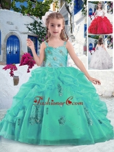 Latest Ball Gown Straps Beading and Bubles Little Girl Pageant Dresses PAG268FOR
