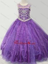 Latest Open Back Beaded Bodice Little Girl Pageant Dress in Purple SWLG005FOR
