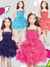 Latest Spaghetti Straps Little Girl Pageant Dress with Hand Made Flowers and Pick Ups THLG066FOR