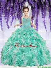 Luxurious 2016 Winter Ruffles and Beaded Decorate Little Girl Pageant Dress in Apple Green LGZY791-AFOR