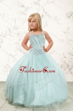 Luxurious Beading and Ruffles Little Girl Pageant Dress in Aqua Blue XFLGA02FOR