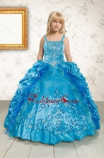 Luxurious Ruffles and Pick Ups Little Girl Pageant Dress in Blue XFLGA36FOR